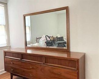 MCM Wood 9Drawer Dresser Mirror