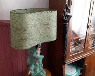 Pair of Art Dreco plaster lamps.