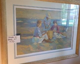 Children on beach art - NOW $37