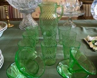 Depression glass lemon aid set and sherbet glasses