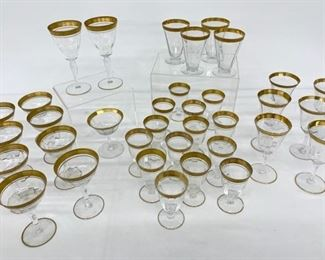 Vintage Glassware with gold rims