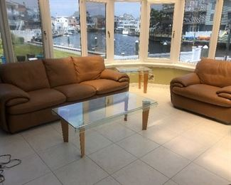 Italian Leather Sofa & ChAir $1500 LIKE NEW CONDITION  Thick glass Coffee table & Endtable $500