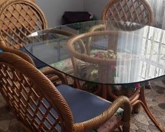 Glass and Rattan Table w/4 Chairs