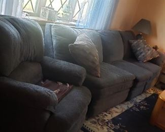 Upholstered Reclining Sofa and Chair