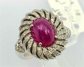 Vintage Platinum Cabochon Ruby Diamond Ring
