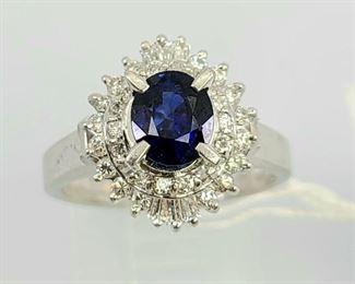 Vintage Platinum Sapphire Diamond Ring