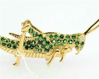 Vintage Tsavorite 18k Yellow Gold Grasshopper diamond Brooch