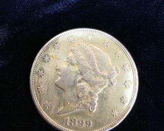 Gold 1899 Liberty Head $20 Coin