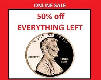 50% off marked price of EVERY ITEM.