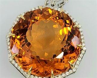 Huge 18k white gold Citrine Diamond Pendant