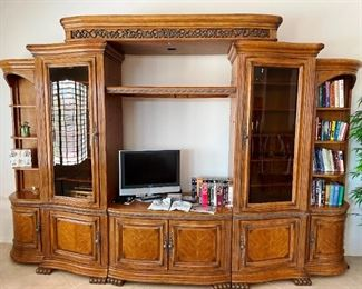 Large distressed wood entertainment center