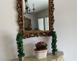 Large gold gilded framed mirror and entry table