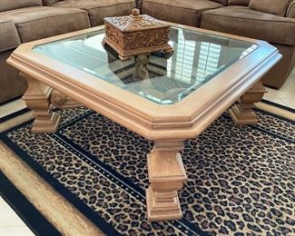 Large coffee table with beveled glass
