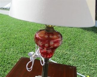 American cranberry glass  oil lamp with marble base