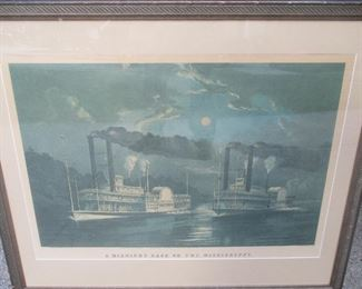 Elephant folio Currier and Ives, MIDNIGHT RACE ON THE MISSISSIPPI