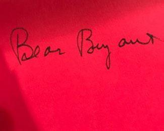Authentic Bear Bryant Signature in BEAR Book
