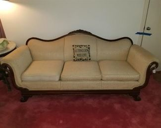 Antique Upholstered Wooden Couch with Swans at Either End,