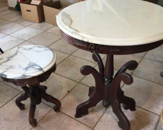 Antique Victorian Co. Solid Mahogony with Italian Marble top.