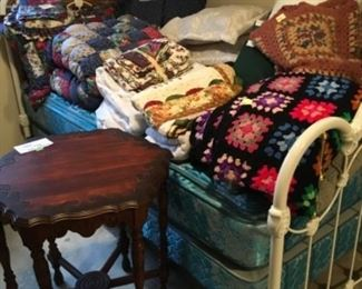 White Metal full-size Bed frame, Gently used pillow top mattress sets (2). Hegagonal Antique side table