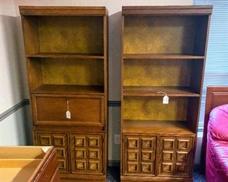 Pair of Book Cases and Storage with desk insert