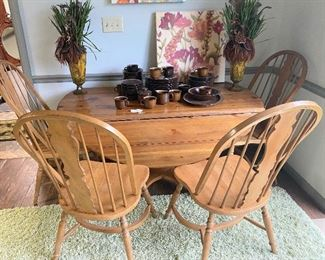 Pine Round Drop Leaf Table and four chairs