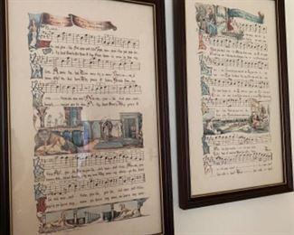 Vintage framed sheet music lithographs signed by Nancy Wilds