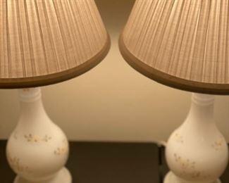 Vintage porcelain handpainted vanity lamps
