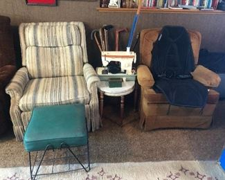 Vintage Cains vintage indoor outdoor mcm stool recliners