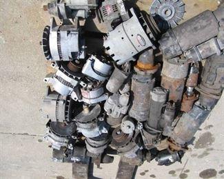 Pallet of Heavy Duty Equipment Alternators and Starters- Delco Remy, Leece Neville.