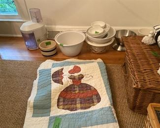 Quilt and Assorted DIshes