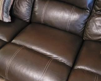 Comfortable leather 3 person recliner set