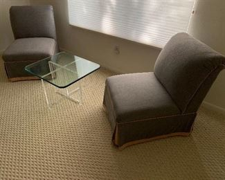 """Pair of Slipper Chairs $900. Lucite & Glass Table $500  Chairs: 32.5"""" tall 24"""" wide ~30"""" deep Floor to seat is ~16""""  Table: 26 x 23"""" 16.5"""" tall"""