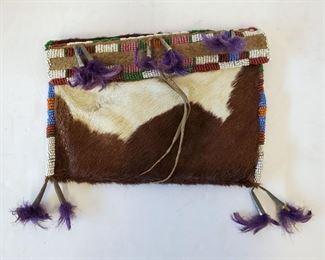Plains Indian beaded pony skin bag