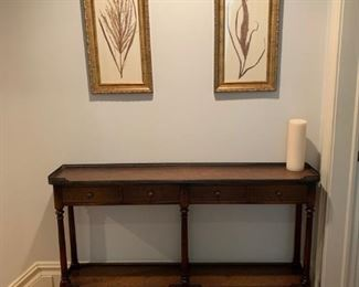 console table and artwork $300