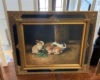 oil painting bunnies $200