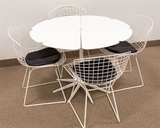 (4) Harry Bertioa Side Chairs & (1) Richard Schultz Petal Dining Table