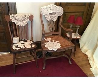 Antique Chairs, Stool, Lamps