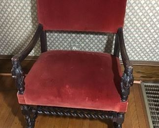 Antique Hand Carved Upholstered Chair