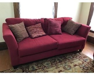 Vivid Red Upholstered Fabric Sofa