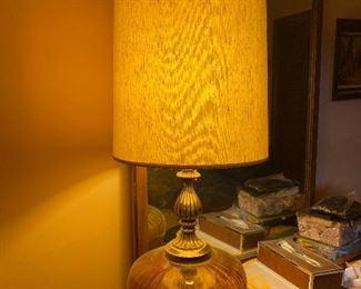 Vintage MCM golden amber glass base lamps (2)