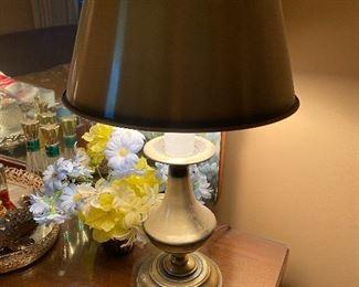 Vintage  pair brushed brass student desk lamps