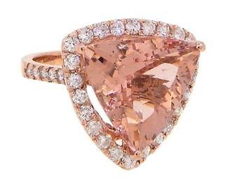 2.9ct Morganite & 1.58ct Diamond Ring
