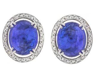 6.2ct Tanzanite & 0.91ct Diamond Earrings