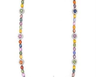32.80ct Multicolor Sapphire & 2.25ct Diamond Necklace