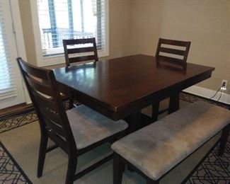 Kitchen table, 1 leaf, 4 chairs & bench