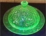 Vintage Vaseline Glass Butter Dish