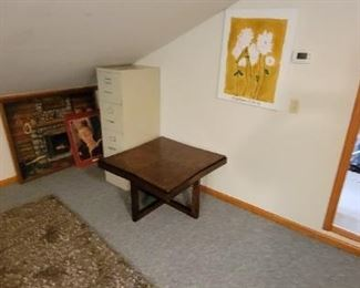 file cabinet small end table and wall art