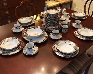 Beautiful china on mahogany table