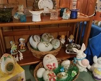 Antique glass Easter Eggs, glass hats, crystal lamp
