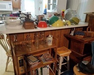 Pyrex Bowles, milk bottles, cook books